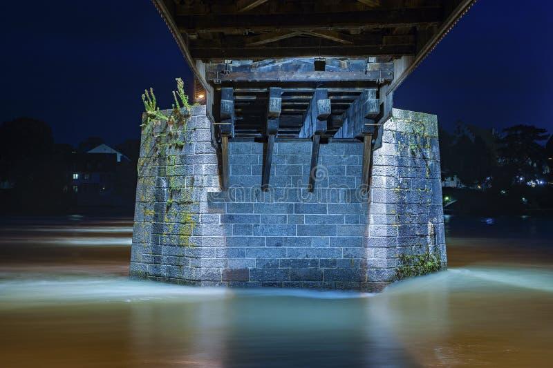 Colonna concreta del ponte storico in cattivo Saeckingen immagini stock libere da diritti