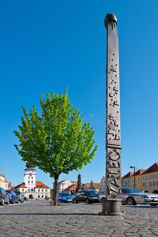 Colonna del millennio nella città di Zatec fotografie stock libere da diritti