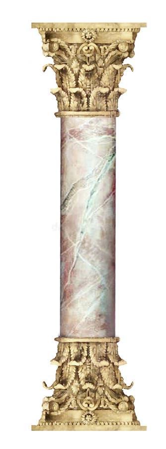 Colonna di marmo dorata fotografie stock libere da diritti