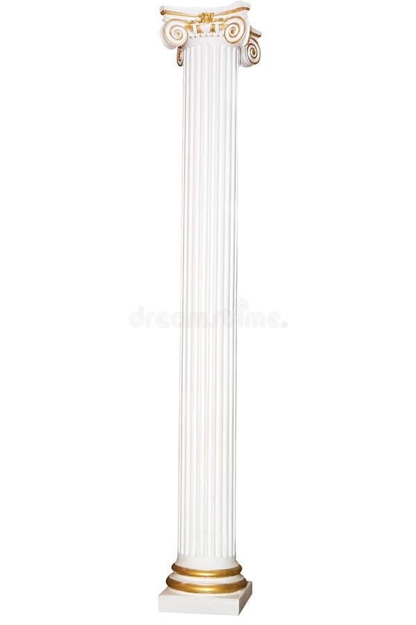 Colonna greca con i bordi dorati fotografia stock