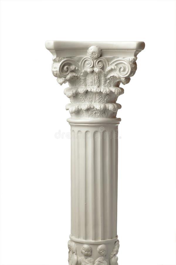 colonna greca isolata su bianco fotografia stock