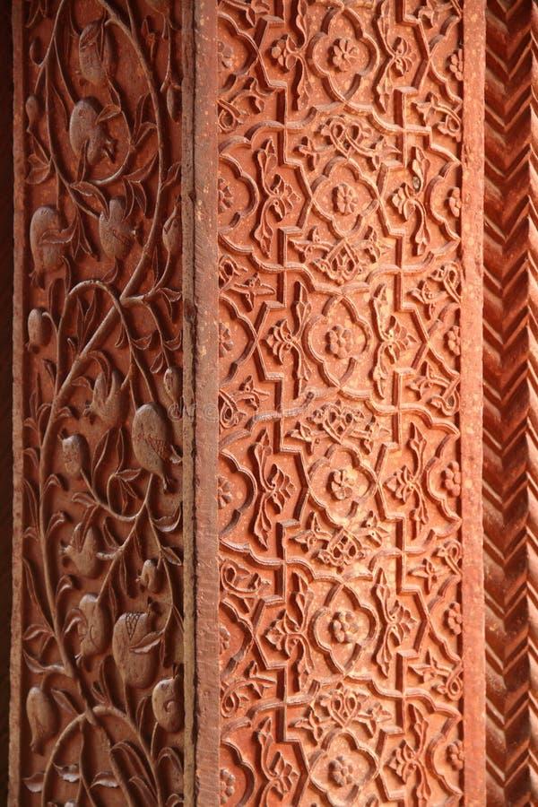 Colonna islamica di arte di progettazione in Fatehpur Sikri, Agra, India fotografia stock libera da diritti