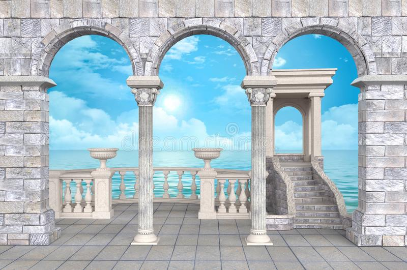Colonnade with balustrade and portico, arches and stucco with sea view -  illustration 3D rendering. Stone colonnade with balustrade and portico, vases, arches vector illustration
