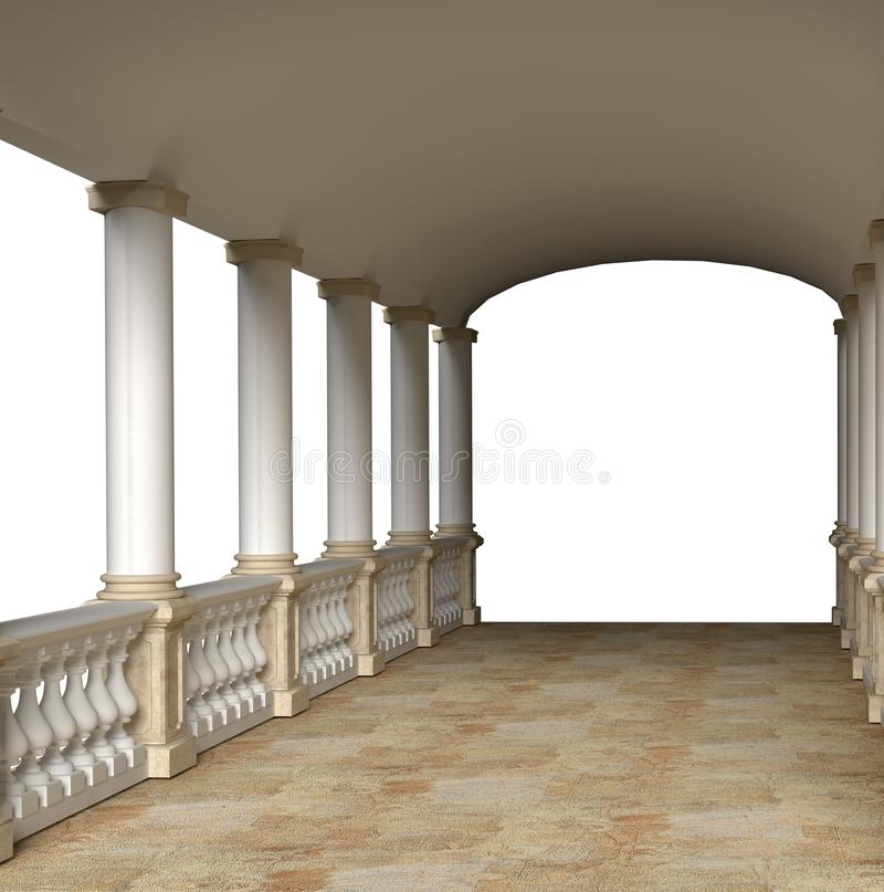 Colonnade with balustrade under the roof 3D render. Covered gallery outside the building stock illustration