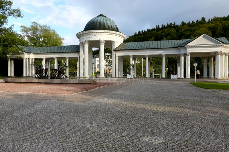 Colonnade of the Caroline Spring in the afternoon stock image