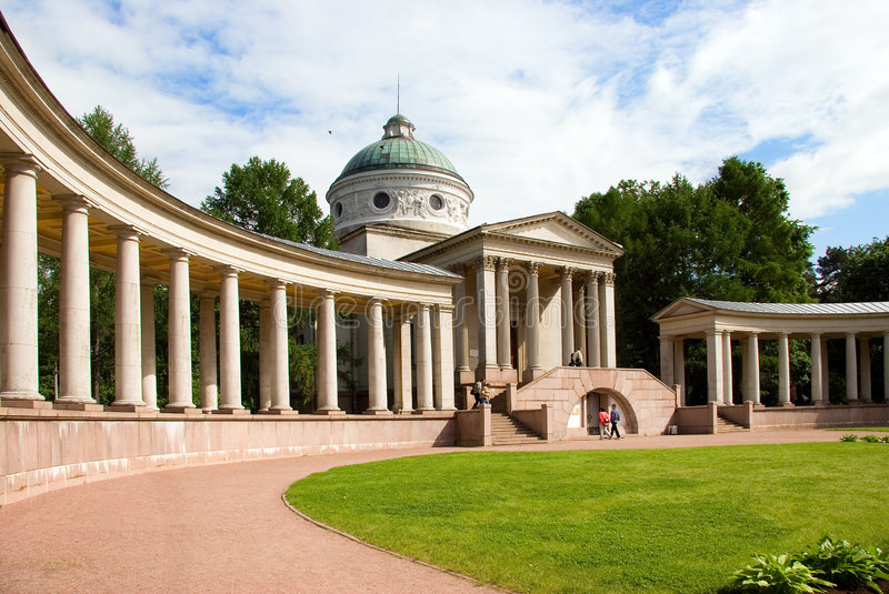 Colonnade and Chapel. In summer at Moscow history State park - museum manor Arhangelskoe royalty free stock photo