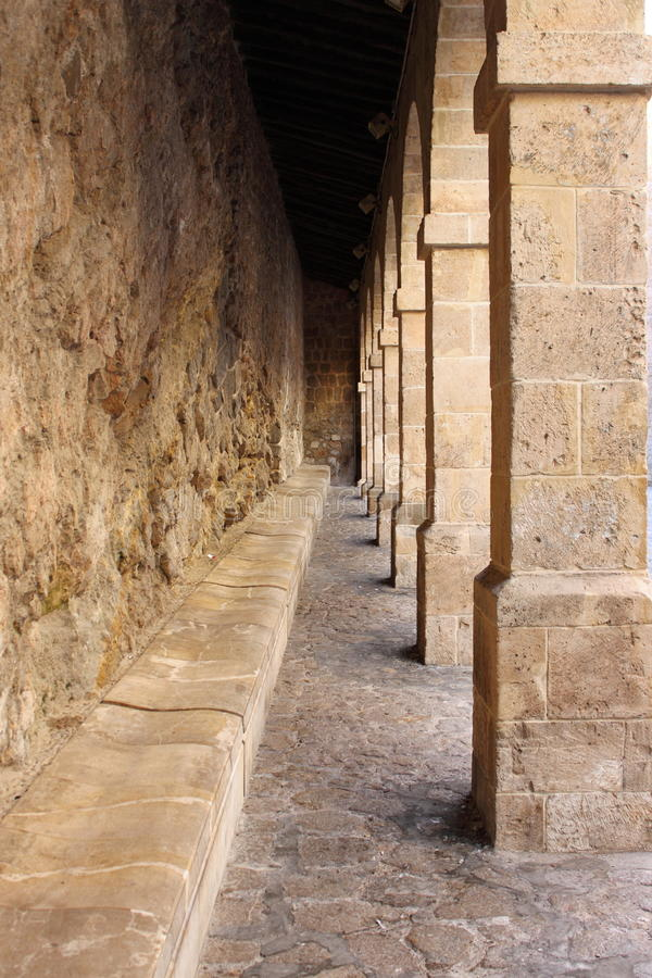 Colonnade in Ibiza Town royalty free stock photography