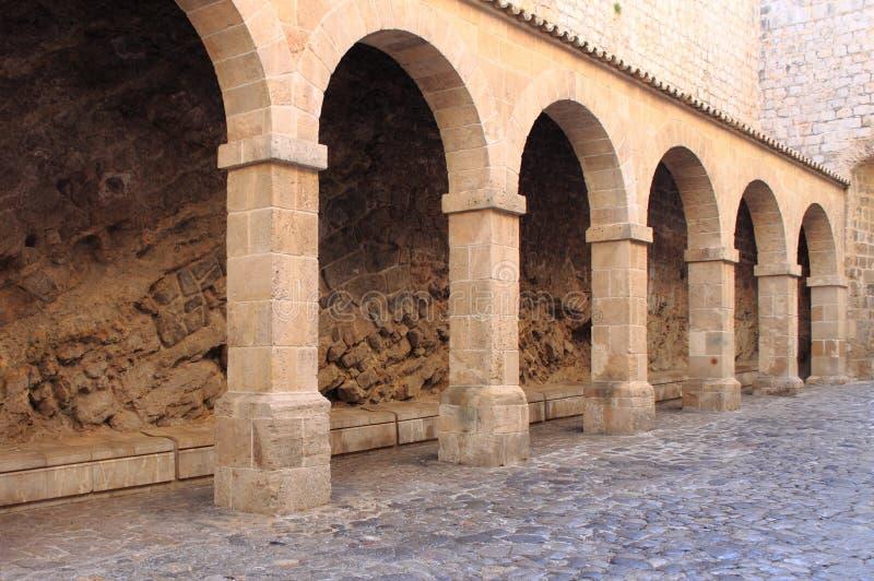 Colonnade in Ibiza Town royalty free stock photos