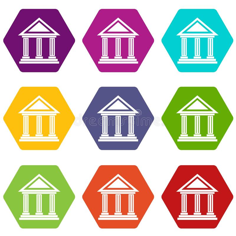 Colonnade icon set color hexahedron. Colonnade icon set many color hexahedron isolated on white vector illustration vector illustration