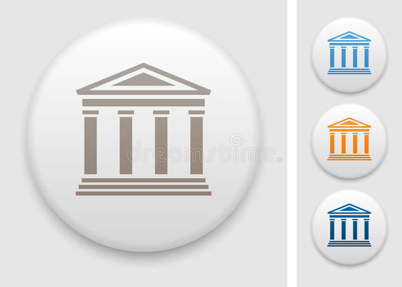 Colonnade icon. Colonnade symbol on round button royalty free illustration