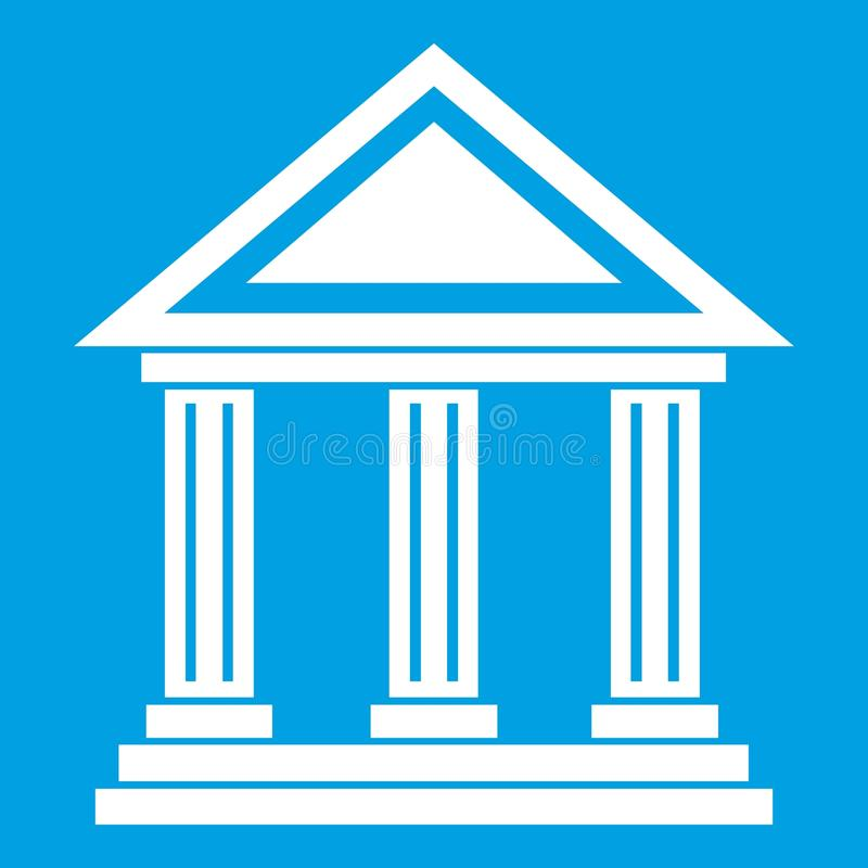 Colonnade icon white. Isolated on blue background vector illustration vector illustration