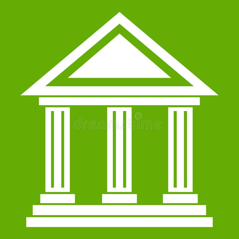 Colonnade icon green. Colonnade icon white isolated on green background. Vector illustration royalty free illustration