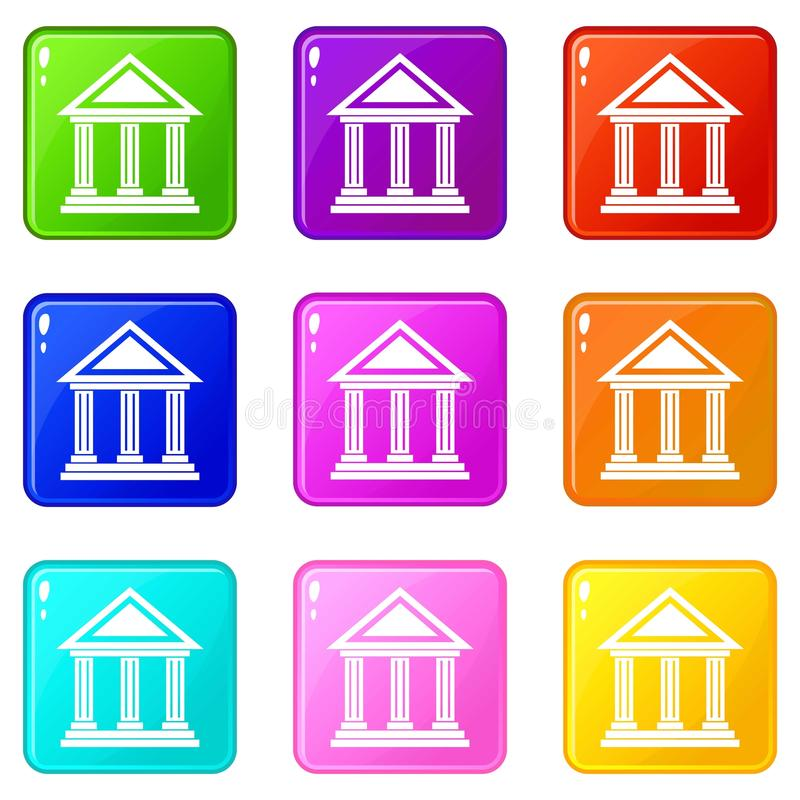 Colonnade icons 9 set. Colonnade icons of 9 color set isolated vector illustration vector illustration