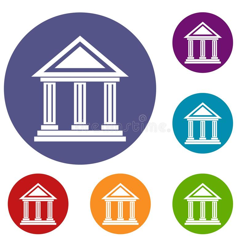 Colonnade icons set. In flat circle reb, blue and green color for web vector illustration