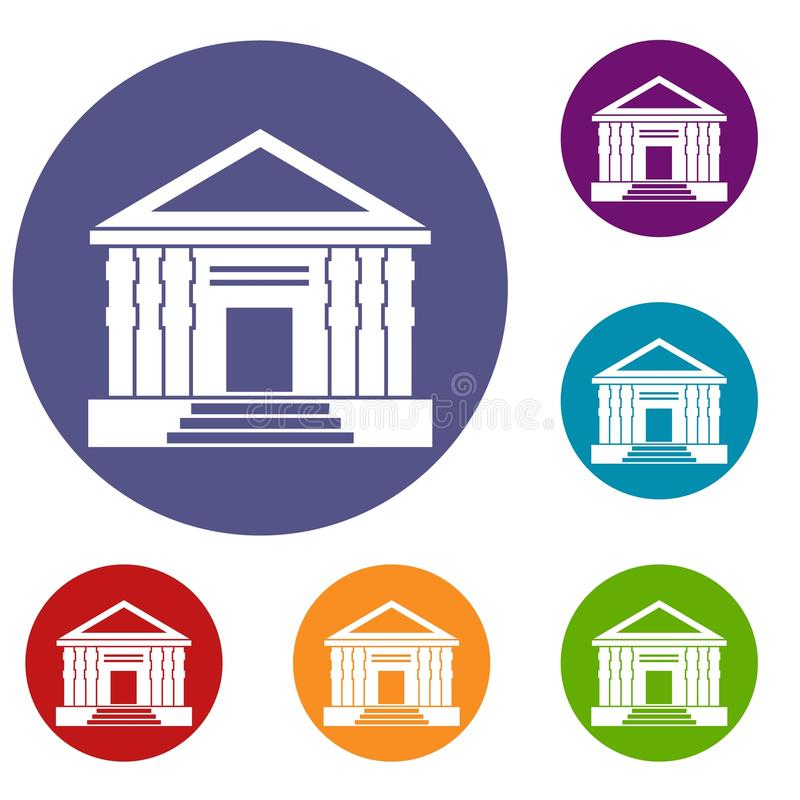 Colonnade icons set. In flat circle reb, blue and green color for web stock illustration