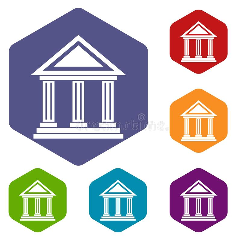 Colonnade icons set. Rhombus in different colors isolated on white background stock illustration