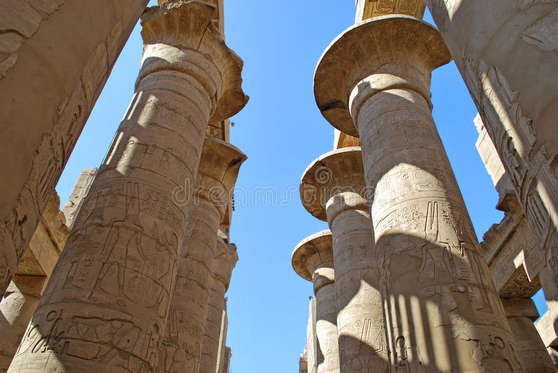 Colonnade of the Karnak temple in Luxor, Egypt. Ancient collonnade in Karnak Temple in Luxor, Egypt royalty free stock photos