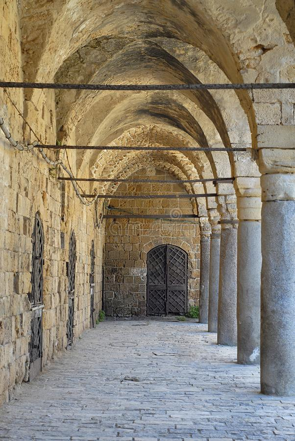 Colonnade at Khan al Umdan, Caravanserai in Acre, Israel. Colonnade at Khan al Umdan, Caravanserai, Acre Israel stock photography