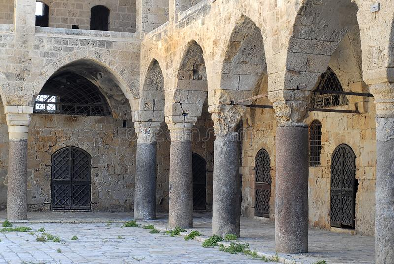 Colonnade at Khan al Umdan, Caravanserai in Acre, Israel. Colonnade at Khan al Umdan, Caravanserai, Acre Israel royalty free stock image