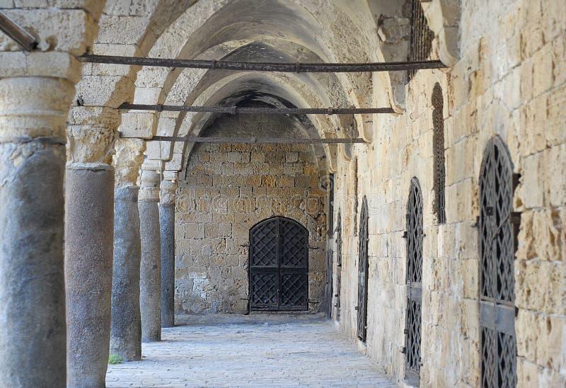 Colonnade at Khan al Umdan, Caravanserai in Acre, Israel. Colonnade at Khan al Umdan, Caravanserai, Acre Israel royalty free stock photography