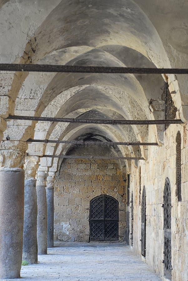 Colonnade at Khan al Umdan, Caravanserai in Acre, Israel. Colonnade at Khan al Umdan, Caravanserai, Acre Israel stock image