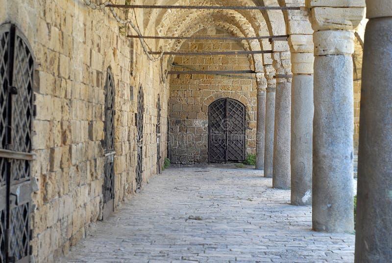 Colonnade at Khan al Umdan, Caravanserai in Acre, Israel. Colonnade at Khan al Umdan, Caravanserai, Acre Israel stock photos