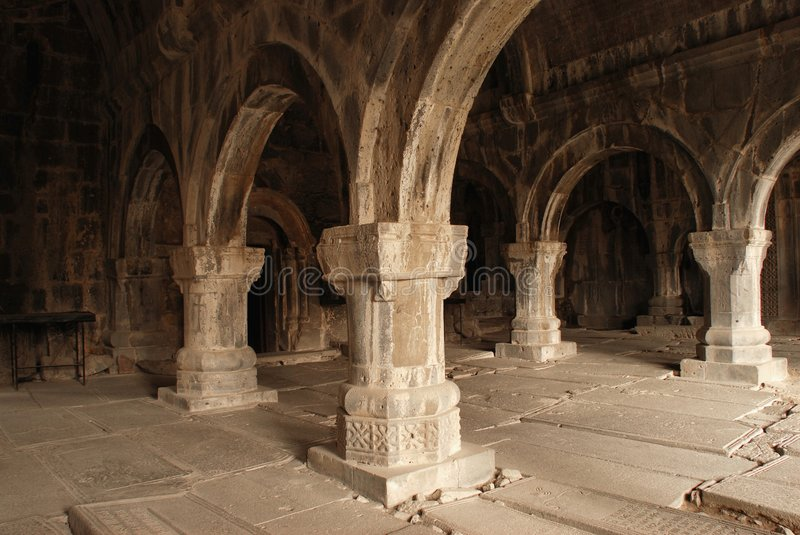 Colonnade of medieval monastery royalty free stock photo