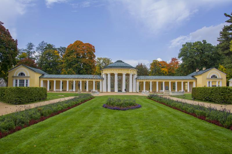 Colonnade of mineral water spring Ferdinand in the small west Bohemian spa town Marianske Lazne Marienbad - Czech Republic. Colonnade of mineral water spring royalty free stock images