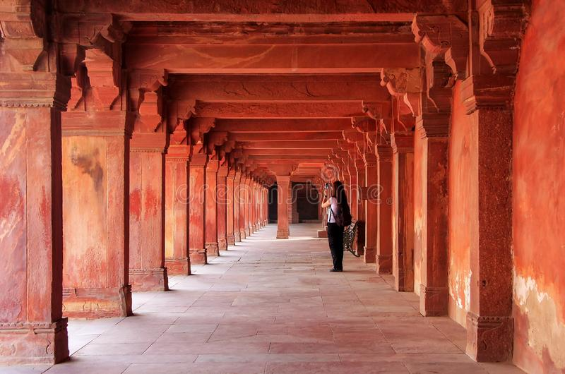 Colonnade of Panch Mahal in Fatehpur Sikri, Uttar Pradesh, India. Fatehpur Sikri is one of the best preserved examples of Mughal architecture in India stock photography