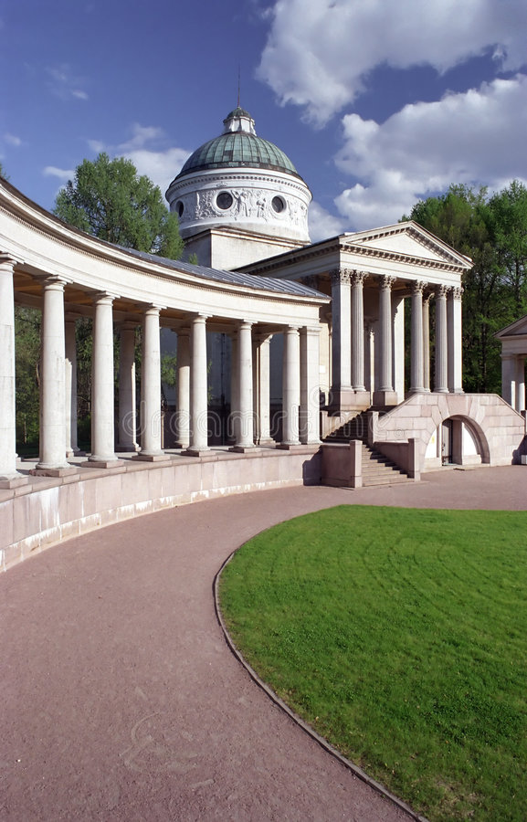 Colonnade in park royalty free stock photo