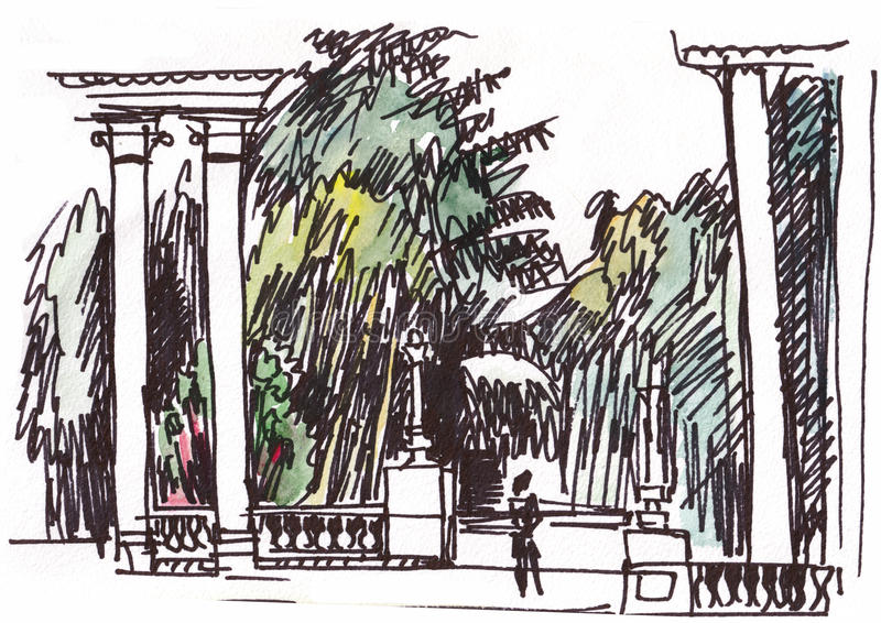 Colonnade in the park. Instant sketch stock illustration