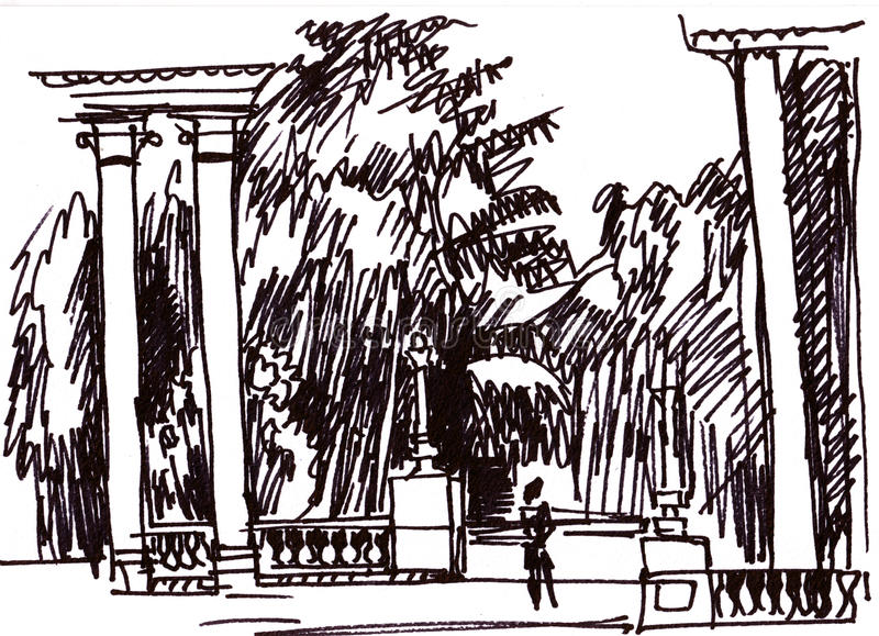 Colonnade in park. Instant sketch, colonnade in the park, summer royalty free illustration