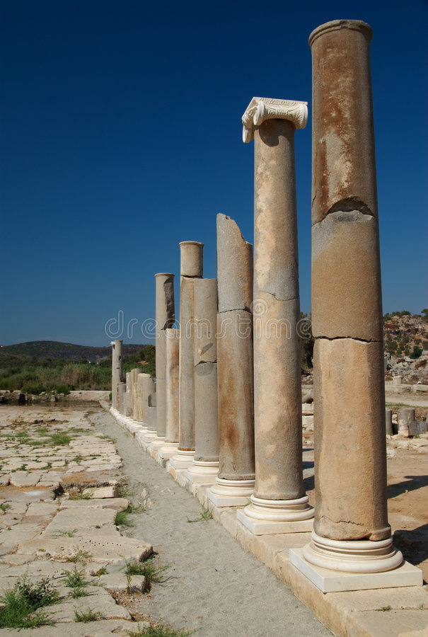 Colonnade, Patara, Turkey royalty free stock images
