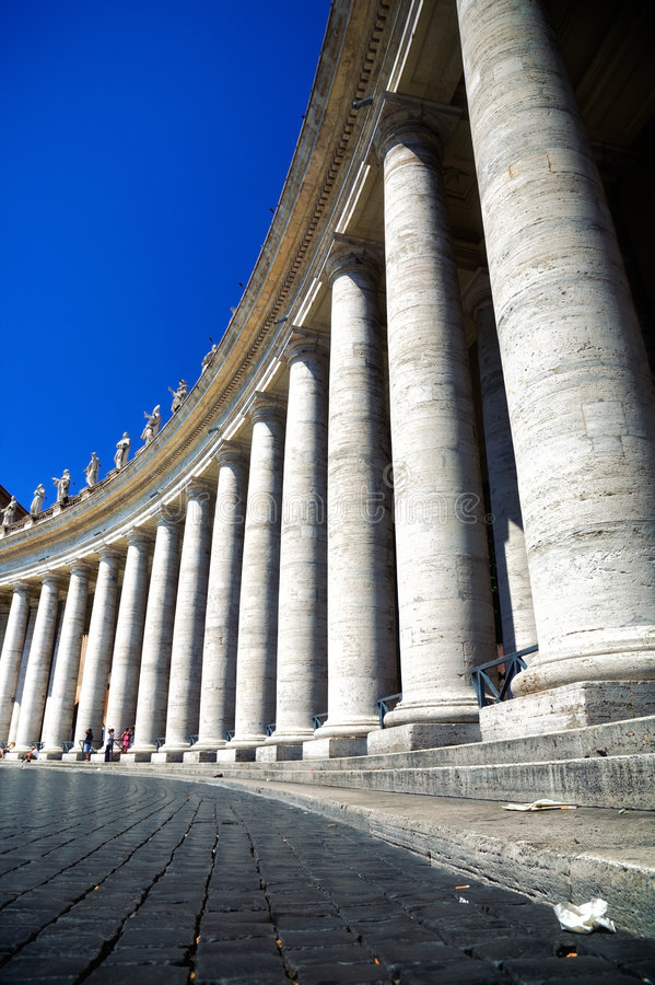 Colonnade on Saint Peter square in Rome Italy. High contrast effect (HDR stock photography