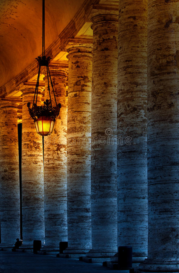 Colonnade On Sr.Peter Square. Rome. Italy.Night City Landscape Royalty Free Stock Image