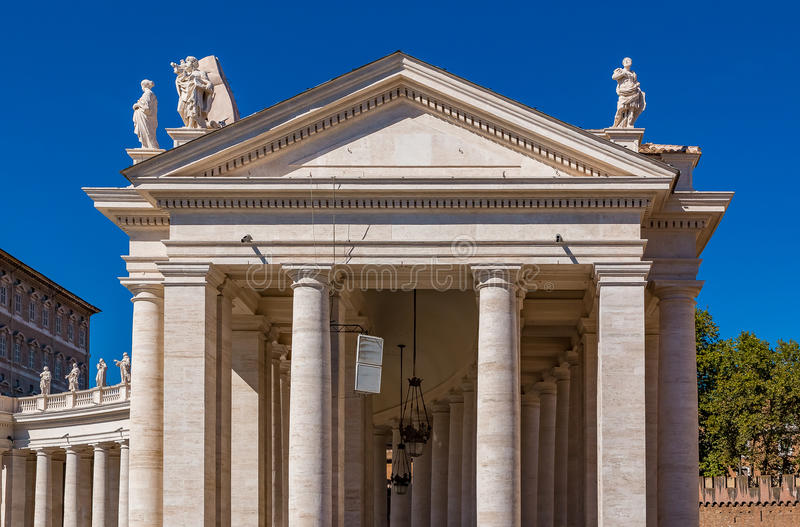 Colonnades on Saint Peter`s Square in Vatican Rome. Vatican city, Vatican - October 12, 2016: Bernini`s colonnades on Saint Peter`s San Pietro Square royalty free stock images