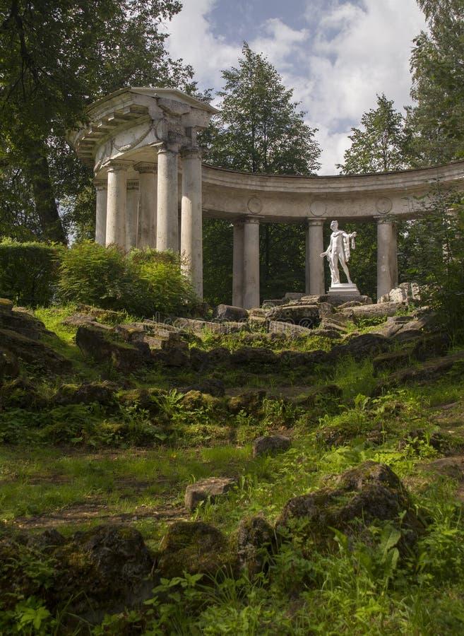 Colonnato di Apollo del parco di Pavlovsk a St Petersburg Russia fotografie stock libere da diritti