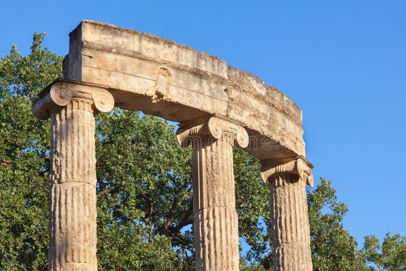 Colonnato di Olympia Greece Philippeion fotografia stock libera da diritti