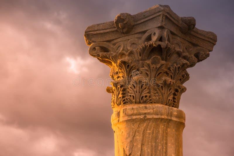 Colonne antique à la ville romaine de Kourion Secteur de Limassol, photos stock