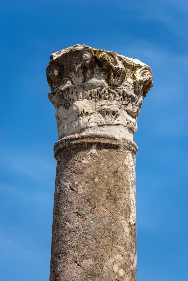 Colonne avec le capital dans le style corinthien - Ostia Antica Rome images libres de droits