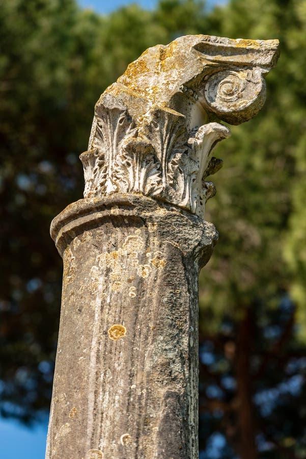 Colonne avec le capital dans le style corinthien - Ostia Antica Rome image stock