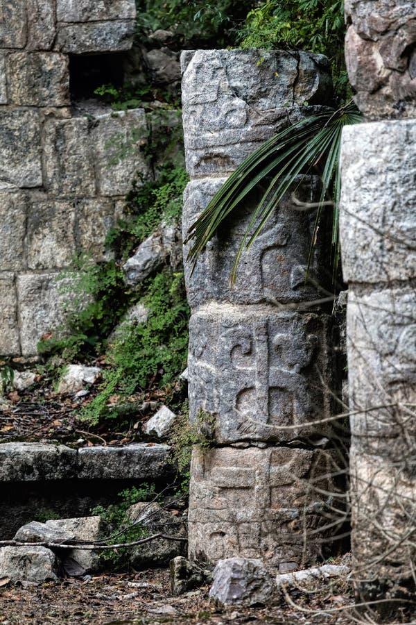 Colonne découpée maya antique dans Chichen Itza images libres de droits
