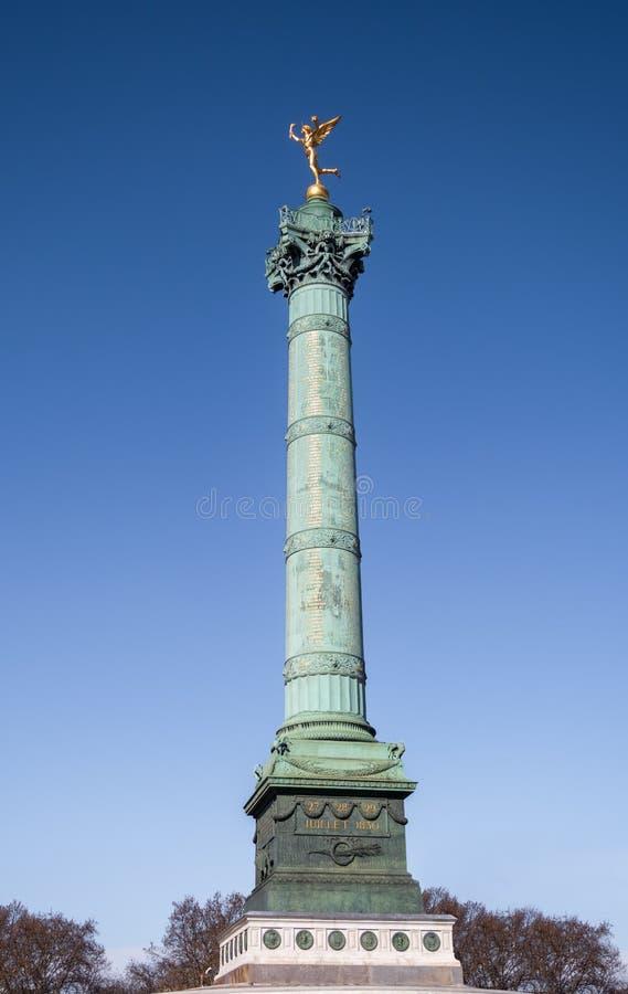 Colonne de juillet à la place de bastille à Paris image libre de droits