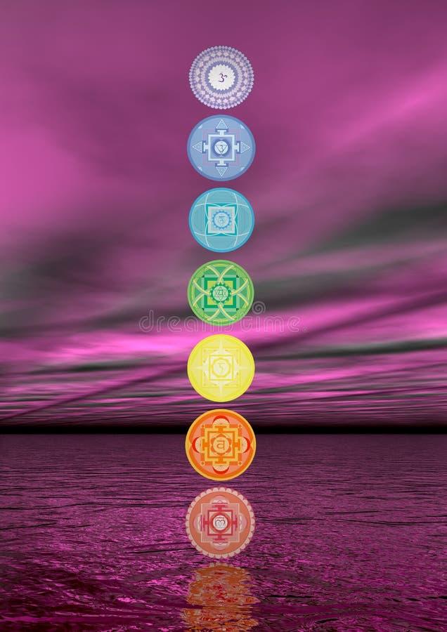 Colonne de sept symboles de chakra - 3D rendent illustration de vecteur