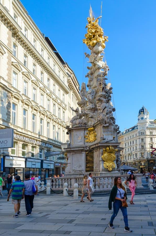 Colonne de trinité sainte de colonne de peste, Vienne, Autriche images libres de droits