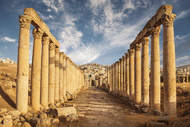 Colonne del maximus di cardo, città romana antica di Gerasa di antichità, Jerash moderno fotografia stock libera da diritti