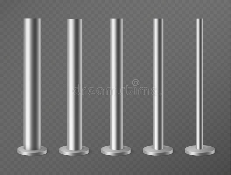 Colonne del metallo Pali d'acciaio per le insegne, il lampione ed il tabellone per le affissioni di pubblicità urbani Colonne d'a royalty illustrazione gratis