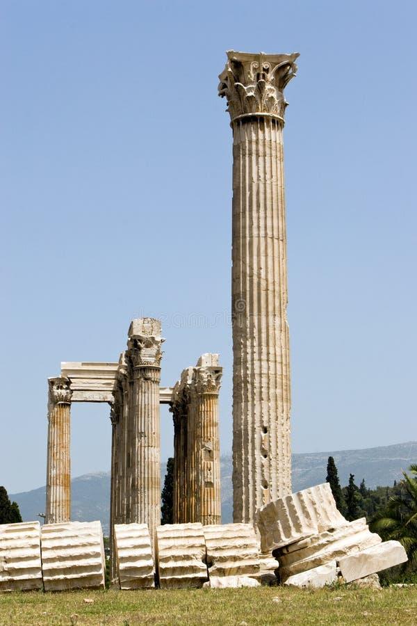 Colonne del tempiale dello Zeus fotografie stock libere da diritti