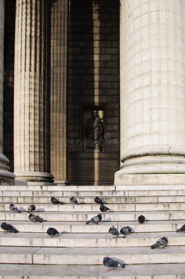 Colonne del tempio e dei piccioni che si siedono sui punti contro la statua immagini stock