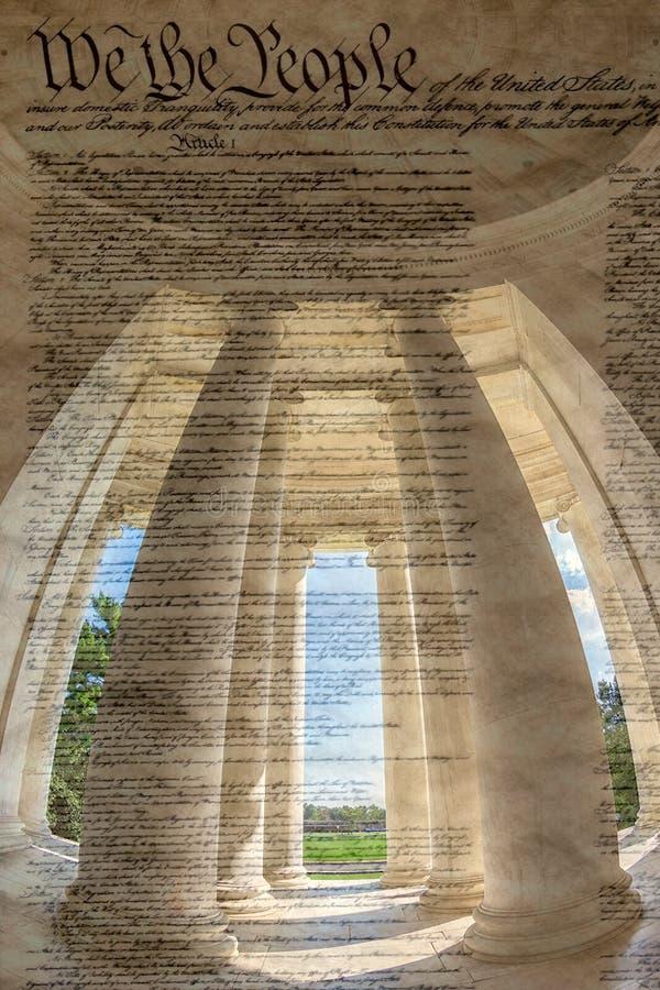 Colonne dentro della dichiarazione del wiyh di Jefferson Memorial di Indepen fotografia stock